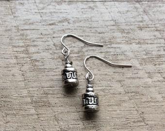 Silver Drum Earrings, Beaded Dangle Earrings, Silver Earrings, Silver Jewelry, Rustic Modern Jewelry, FREE SHIPPING U.S.
