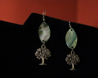 Bronze Tree & Paua Shell Earrings