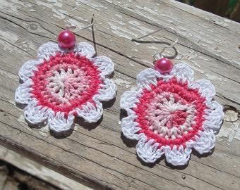 Crochet earrings, Crochet flower earrings, Crocheted jewelry, Boho earrings , handmade earrings, Gift for her, purple earrings, bridesmaids