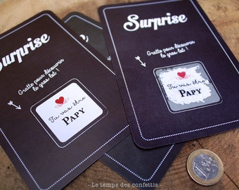 Scratch card customizable for announcement of surprise pregnancy dad close family Aunty aunt Uncle Grandma Grandpa love surprise speaker