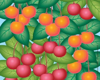 CHERRIES Fruit ART PRINT-Cherries Archival Print-Cherry Print-Orchard Print-Fruit Tree Print-Square Fruit Art Print-Fruit Art-Made in Canada