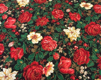 Christmas Fabric Floral. FQ. Poinsettia Fabric. Holly Fabric. Christmas Quilting Cotton. Christmas Fabric. Cranston Christmas Fabric.