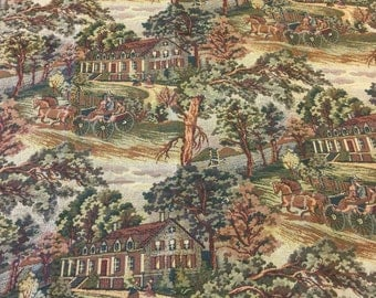 Tapestry Upholstery Fabric. Country Scenery Tapestry. Horse and Buggy. Sternwheeler. Boat. Jacquard Fabric.