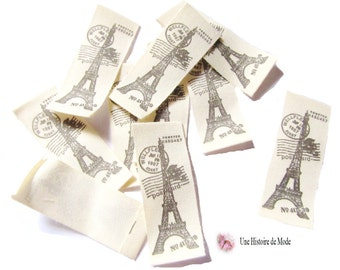 10 vintage sewing labels Paris Eiffel Tower