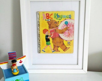 Vintage Little Golden Book Framed ABC Rhymes Alphabet print Nursery Play room Kids wall art in large White frames Genuine Retro Pictures