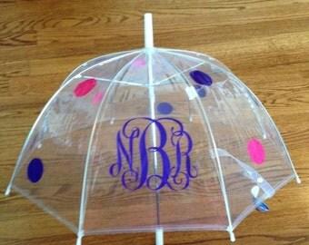 Children's Clear Dome Umbrella, Kids Umbrella, Kids Personalized Clear Dome Umbrella, Girls Umbrella, Birthday Gift