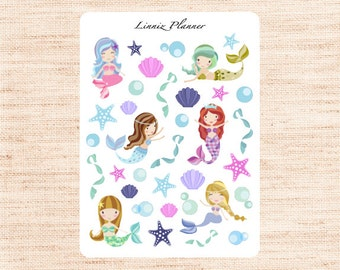 Mermaid Decorative (matte planner sticker, Erin Condren, Happy Planner, Filofax, Kikki K)