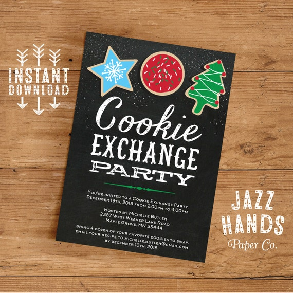 Cookie Exchange Invitations Template DIY Printable Cookie