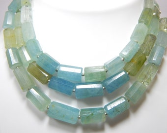 Aquamarine Faceted Tube Beads 100% Natural Gemstone Size 9x7 to 20x9.8 .mm Approx Code - 0498