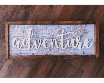 Adventure wood sign // 22 x 9 // map wood sign // rustic adventure wood sign // adventure map sign // adventure sign // USA map sign