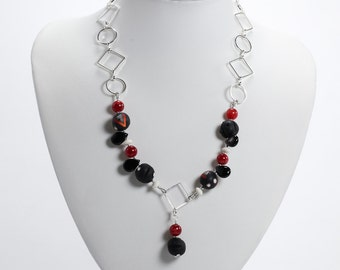 Polymer Clay & Gemstone Necklace, Silver, Black, Red and White Necklace