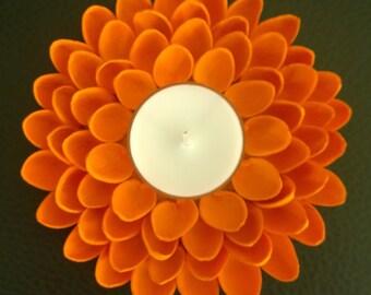 Cute Tealight Candle Holder - Pistachio Shell Flower - Orange