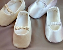 White or Ivory baby ballet slippers, christening shoes, Ivory or white ballerina flats, Satin shoes,  baptism shoes, baby wedding outfit