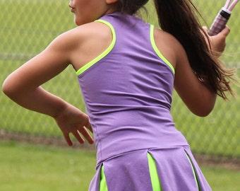 Girls Tennis Dress Victoria RacerBack Neon | Girls Tennis Apparel | Junior Tennis Wear Outfit