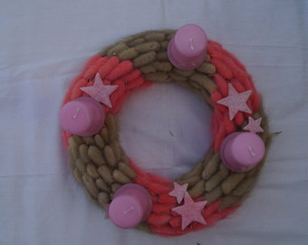 Christmas wreath Advent wreath fluffy wreath seasonal wreath holiday home decor Christmas gift natural with candles pink wreath