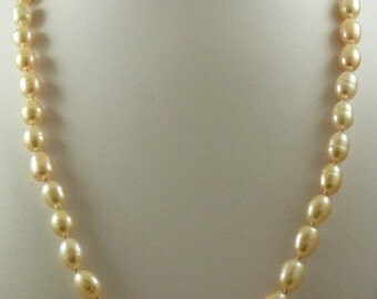 Freshwater Light Pink Rice Shape Pearl Necklace with 14k Yellow Gold 24 inches