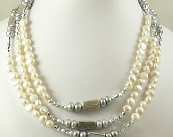 "Freshwater White and Gray Rondel Pearl and Austrian Crystal Triple Strand Necklace 18"" Long"