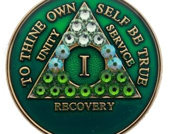 Green Transition Crystallized Sobriety Medallion