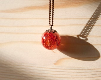 Resin necklace and real dried flower