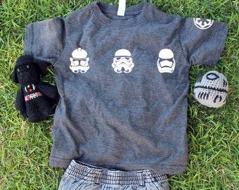KIDS Star Wars Trooper T-Shirt w/ FREE Sticker Decal. Clone Trooper. Storm Trooper. First Order Storm Trooper. Shirt.