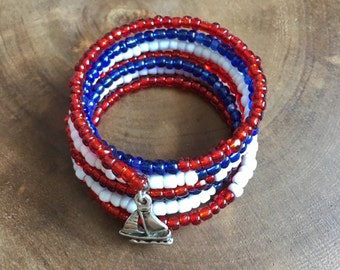 Red White Blue Bracelet, Wrap Bracelet, Memory Wire Bracelet, Fourth of July Bracelet, Sailboat Bracelet, USA Womens Sailing Olympic Jewelry