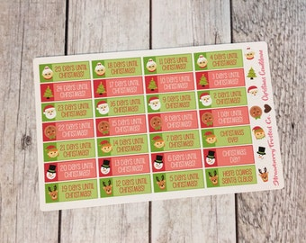 Christmas Countdown Planner Stickers-