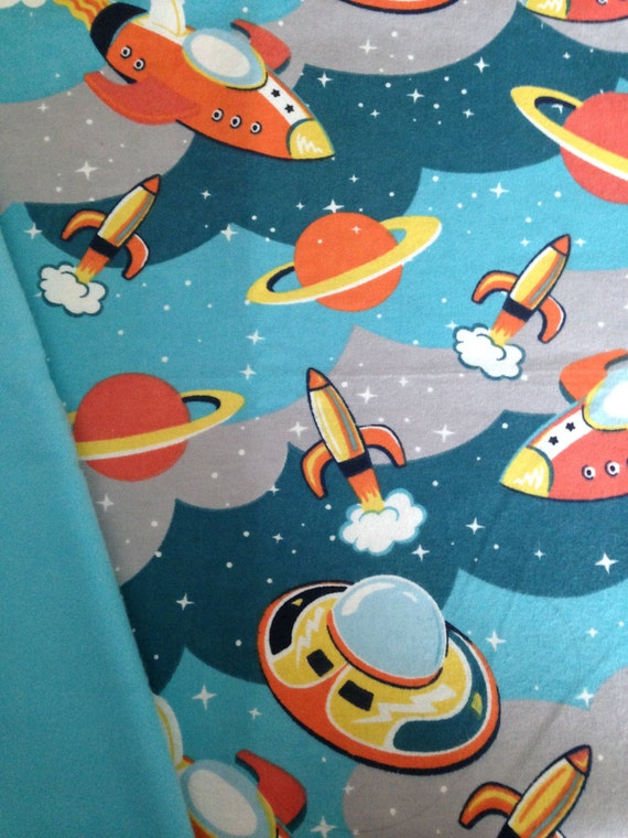 Space ship outer space weighted blanket ready to ship 345 for Outer space themed fabric