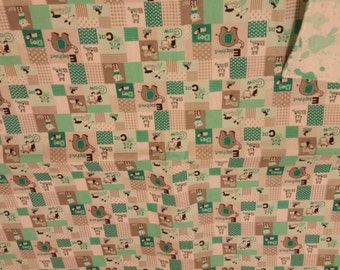 Green ABC's with animals blanket