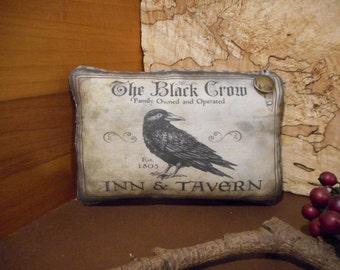 Pillow Tuck: Primitive Rustic Americana Crow Pillow Tuck.