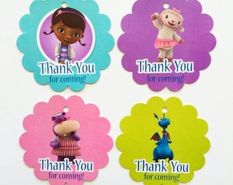 12 Doc Mcstuffins Thank you Birthday Favor Tags
