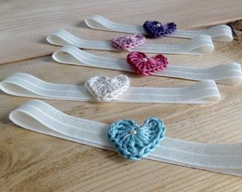 Children's headband, Baby girl headband, Newborn photo prop, crochet heart headband.