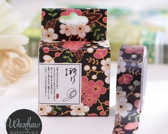 Black Flower Floral Washi Tape, Craft Tape, Decorative Tape, Scrapbooking Tape
