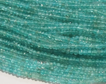 "Natural Blue green Apatite Faceted Rondelle 4mm Semi precious stone Gemstone Bead Full Strand 13"" Healing Crystals Jewelry Supplies gems"