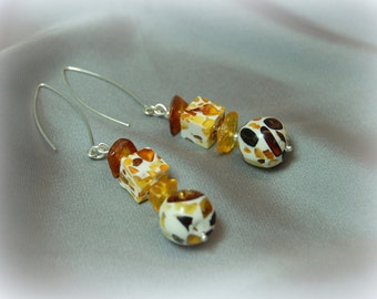 Mosaic Baltic Amber Ball and Cube with 2 Amber Chips Silver Earrings