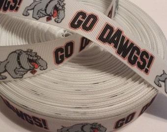 "Georgia Bulldogs inspired College Football 7/8"" Grosgrain Ribbon"