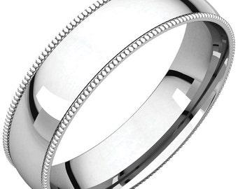 Milgrain Edge Wedding Band, White Gold Milgrain Wedding Ring, White Gold Milgrain Wedding Band, 4mm Comfort Fit Milgrain Wedding Band