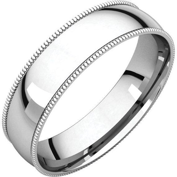 Milgrain Wedding Ring In Platinum 7mm: Milgrain Edge Wedding Band White Gold Milgrain Wedding Ring