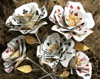 Playing Card Flowers, Gold, Bling, Casino Party, Vegas Wedding, Poker Flowers, Casino Decor, Poker Centerpieces, Paper Flowers, Playing Card