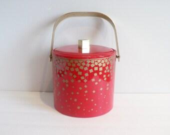 Mid Century Red Ice Bucket  With a Gold Geometric Design -  Mid Century Modern Georges Briard Ice Bucket - Vinyl and Brass Ice Bucket