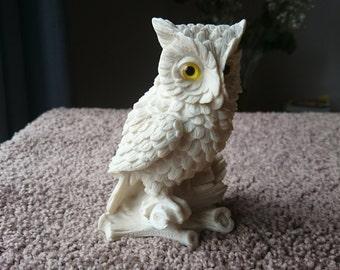 Carved Stone Owl Figurine / Owl Stone Statuette / Ivory-White Owl Decor - Vintage
