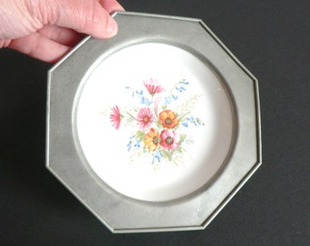 Pewter and Porcelain Decorative Plate with a Floral Motif - Made in France by REVOL and ETAIN - Vintage Geometric Octogon Shape Wall Plate