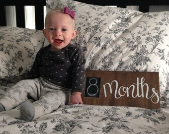 Monthly Baby Chalkboard Sign - Monthly Photo Prop - Chalkboard Baby Sign - Monthly Wood Sign