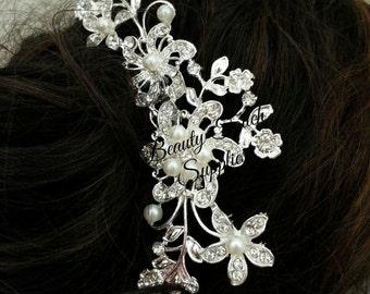 Silver Flower Pearls Hair Comb Clip Crystal Rhinestone
