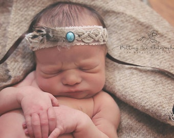 Newborn Baby Tieback with Feathers, Headband, Photography Prop