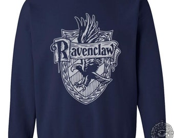 Ravenclw Crest #2 One color printed on Navy Crew neck Sweatshirt
