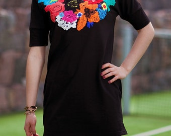 "Sale Women's Clothing, The black dress ""Fantastic flower "", with appliqué  of French colorful lace."