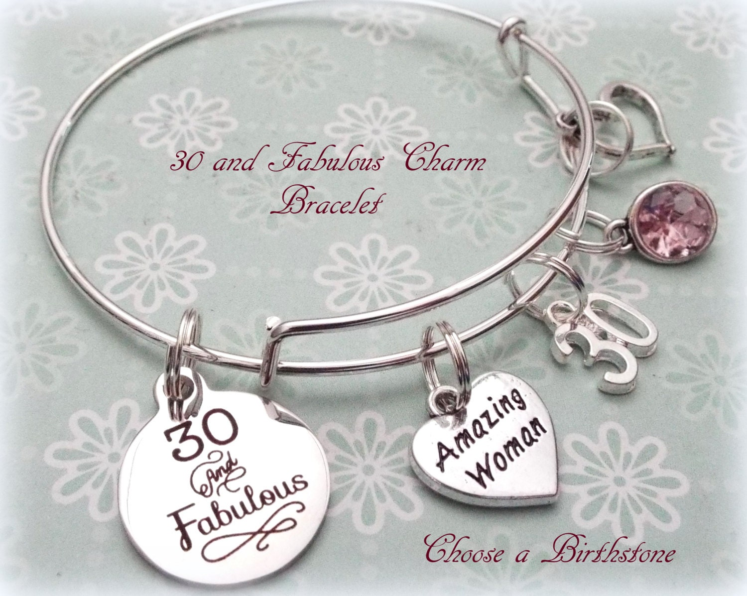 30th Birthday Gift, 30 and Fabulous Charm Bracelet, Birthday Gift ...