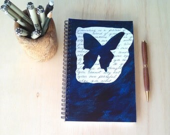 Hand Painted Wire Bound Spiral Journal; FREE SHIPPING; Blank Notebook; Writing Journal, Small Sketchbook; Unique Gift; Butterfly Shape