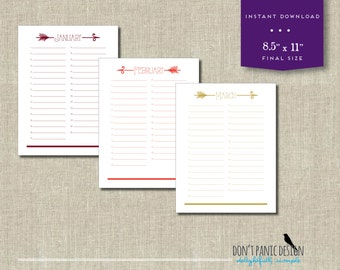 Printable Arrow Calendar - Birthday Calendar - Anniversary Calendar - Colorful Eternal Planner - Instant Download PDF