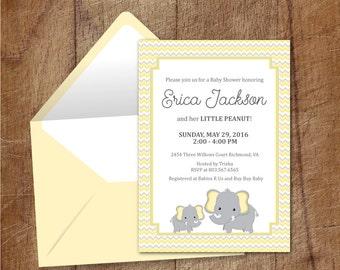 Elephant Baby Shower Printable Invitation, Yellow And Grey Elephant Baby Shower Invite, Yellow And Grey Chevron Baby Printable Invite